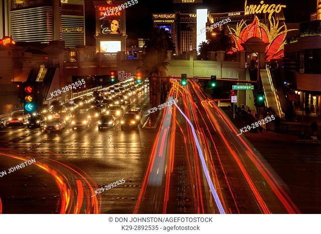 Traffic at night on the Strip (Las Vegas Boulevard), near Flamingo, Las Vegas, Nevada, USA