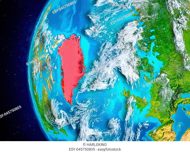 Map of Greenland as seen from space on planet Earth with clouds and atmosphere. 3D illustration. Elements of this image furnished by NASA