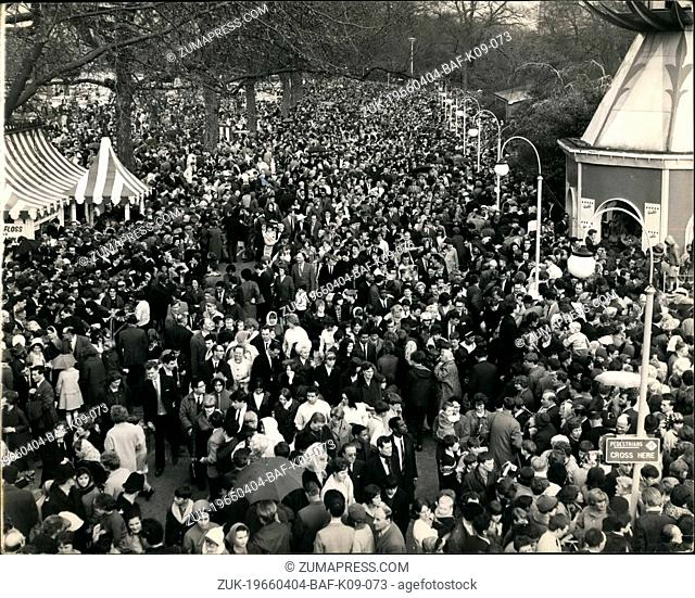 Apr. 04, 1966 - London's Easter Parade in Battersea Park - The Change in the Weather brought thousands of Londonere flooking to Battersea Park to see the annual...
