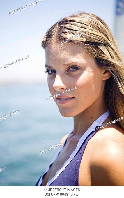 Close up of woman wearing bikini