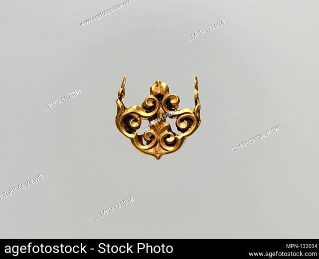 Openwork Fitting. Period: Period of Tibetan Empire; Date: 7th-9th century; Culture: China (Xinjiang Autonomous Region, Central Asia); Medium: Gold; Dimensions:...