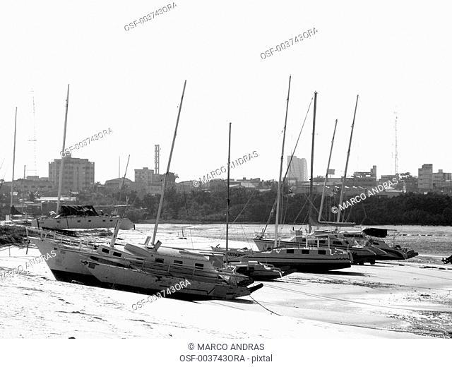 sao luis do maranhao boats anchored at the seashore port