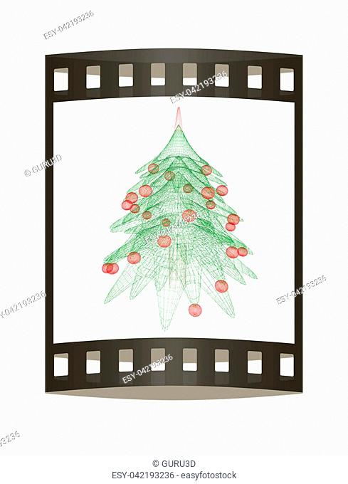 Christmas tree concept. 3d illustration. The film strip