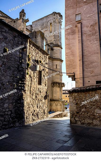 detail of the street of the cathedral of Cuenca to the evening, Cuenca, Spain