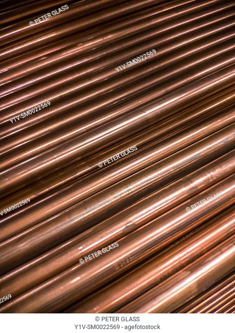 Pile of copper pipes
