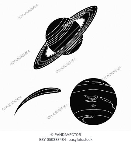 Planets of the solar system black icons in set collection for design. Cosmos and astronomy bitmap symbol stock illustration