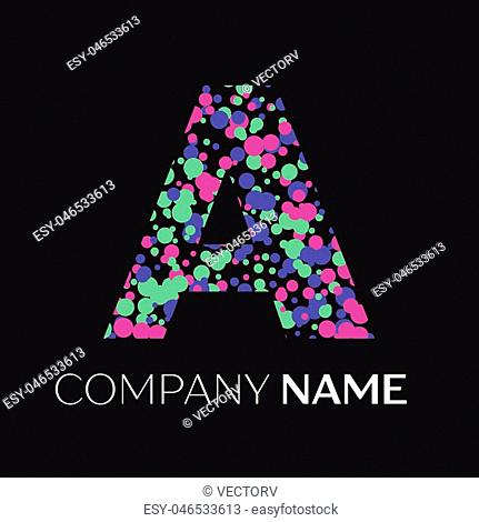 Letter A logo with pink, purple, green particles and bubbles dots on black background. Vector template for your design