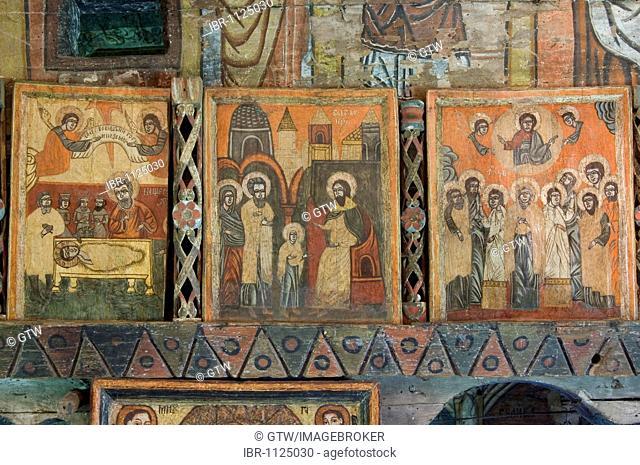 18th century icon, Wood Church of the Holy Archangels, Unesco World Heritage Site, Rogoz, Maramures, Romania