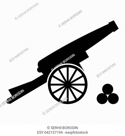 Medieval cannon firing cores icon black color vector illustration flat style simple image