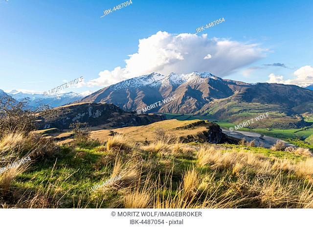 View of mountains with snow, Wanaka Lake, Rocky Peak, Glendhu Bay, Otago, Southland, New Zealand