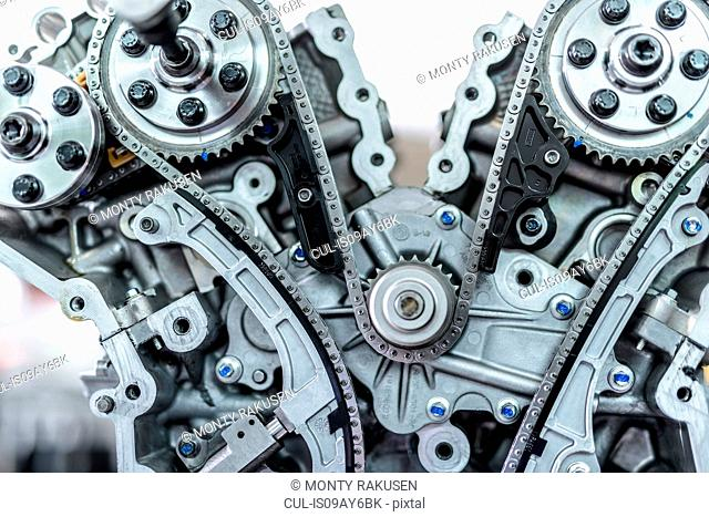 Close up detail of engine in racing car factory