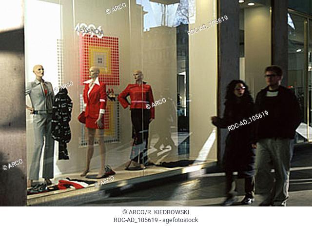 Shop window shopping street Via Roma Turin Piemont Italy