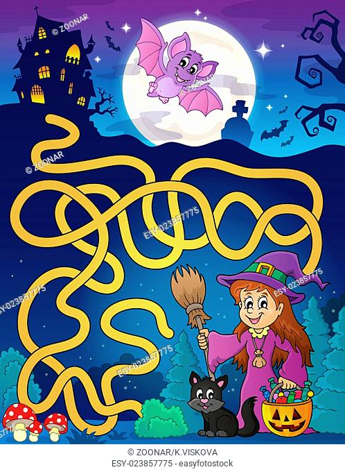Maze 7 with cute witch and cat - picture illustration