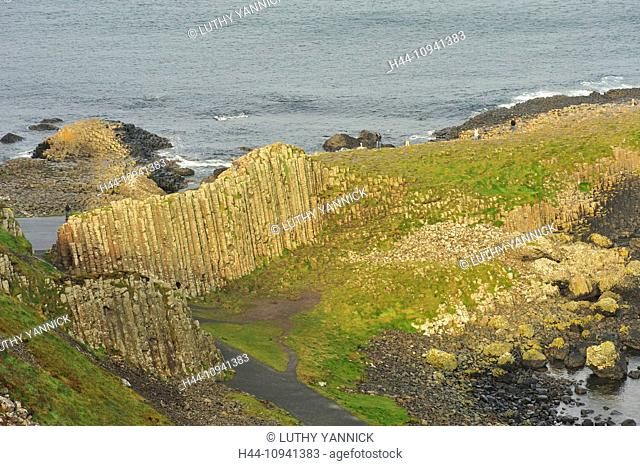 Clochan An Aifir Or Clochan na BhFomharach, EU, Uk, Basalt, Bushmills, Coast Way, Columns, County Antrim, Europe, European Union, Exterior, Giant'S Causeway