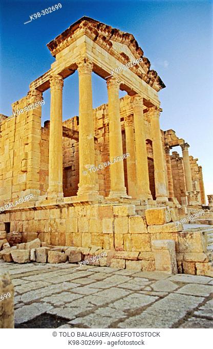 Capitol in Roman city. Sbeitla. Tunisia