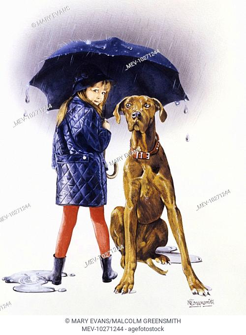 A young girl in red leggings and jacket sheleters from a rain strom under an umbrella alongside her slightly-perplexed-looking (and very large) pet dog