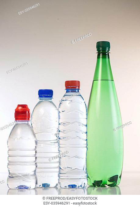 Bottles of water isolated on the white background