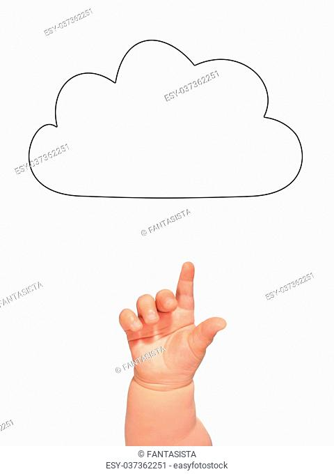 Cloud and hand isolated over white
