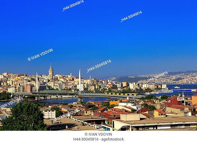 View of Beyoglu district and Galata tower (1348), Bosphorus, Istanbul, Turkey
