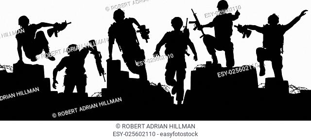 Editable vector silhouettes of armed soldiers charging forward with each man as a separate object