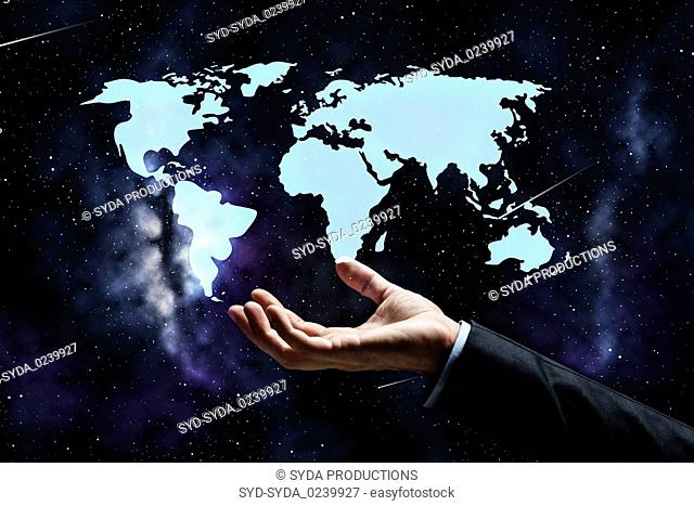 close up of businessman hand with world map