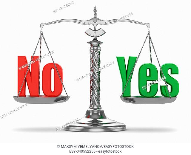 Choosing yes or no. Scales on white isolated background. 3d