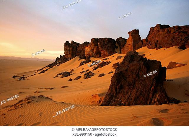 Oued Tin Tarabine  Tassili Ahaggar at sunset  Algeria