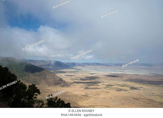 An aerial view of the Ngorongoro Crater, UNESCO World Heritage Site, Tanzania, East Africa, Africa