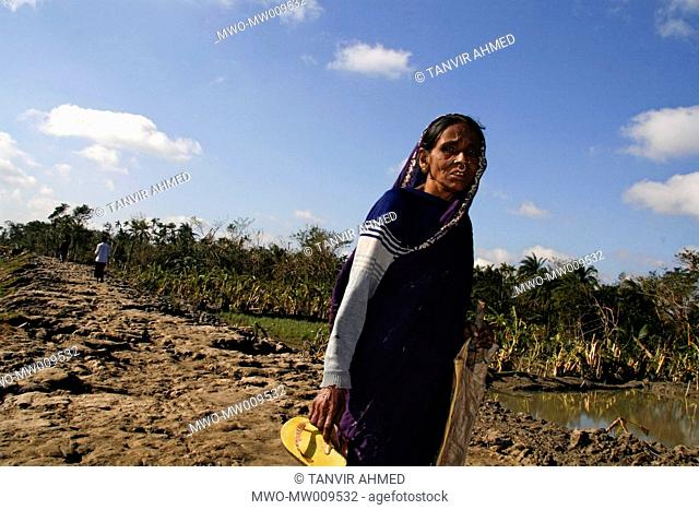 Portrait of an old woman at Shoronkhola SIDR hits the village on the night of 15th November causing huge damage of lives and properties Shoronkhola