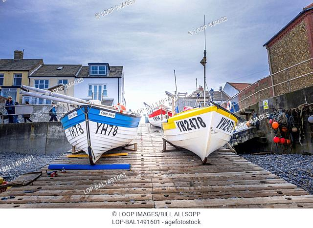 Small commercial fishing boats on the slipway at Sheringham