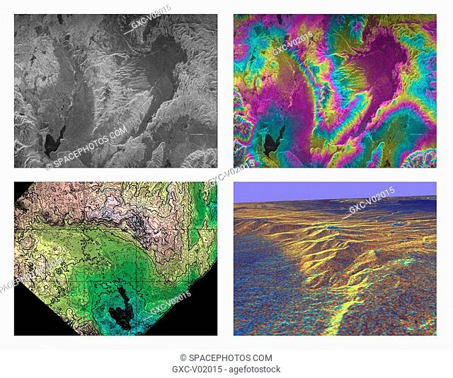 These four images of the Long Valley region of east-central California illustrate the steps required to produced three dimensional data and topographics maps...