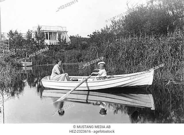 Rowing in the moat of the citadel, Landskrona, Sweden 1915. From the Landskrona Museum Collection