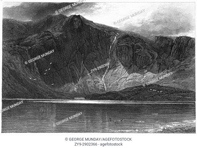 1870: Llyn Idwal is a small lake that lies within Cwm Idwal in the Glyderau mountains of Snowdonia, North Wales