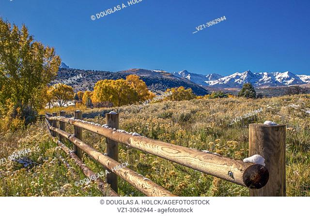 Overnight Snow highlights ranchland in the San Juan Mountains of Colorado