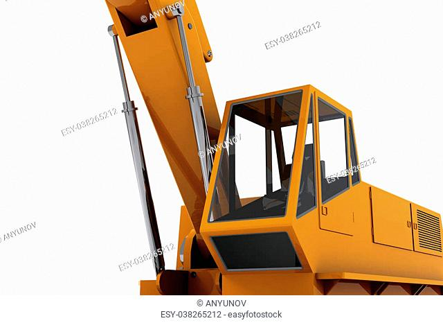 Orange industrial Digger isolated on white background