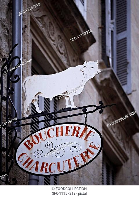 A butcher's sign in France