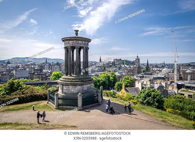 The Greek inspired memorial to Dugald Stewart rests on Calton hill overlooking the city of Edinburgh, Scotland, UK