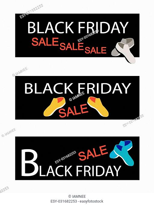 Illustration of Shoes on Black Friday Shopping Labels for Start Christmas Shopping Season