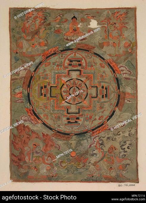 Buddha Surrounded By Bodhisattvas. Date: 19th century; Culture: Tibet (Tun Huang); Medium: Green and orange color on silk; Dimensions: 18 x 12 3/4 in