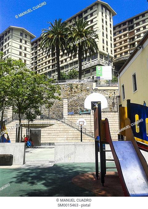 Playground in the Casco Viejo in Bilbao, Biscay, Basque Country, Spain