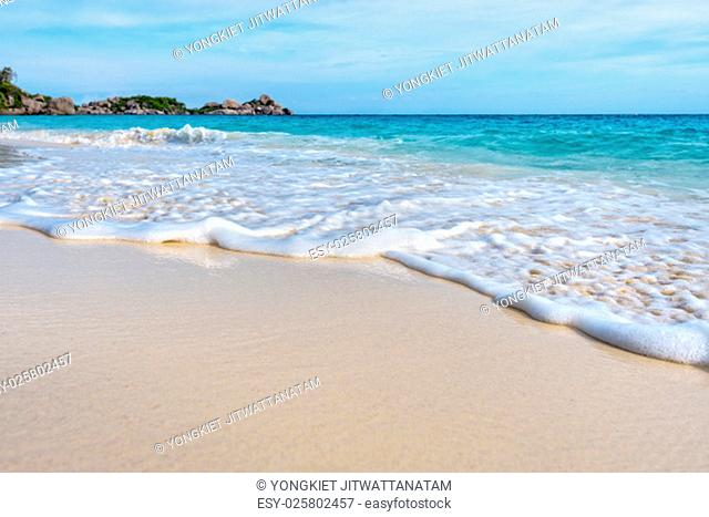 Beautiful landscape blue sea white sand and waves on the beach during summer at Koh Miang island in Mu Ko Similan National Park, Phang Nga province, Thailand