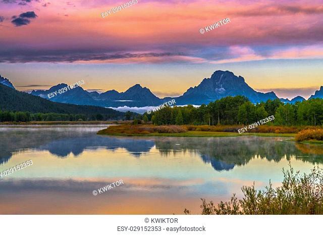 Sunrise in Grand Teton National Park - Oxbow Point