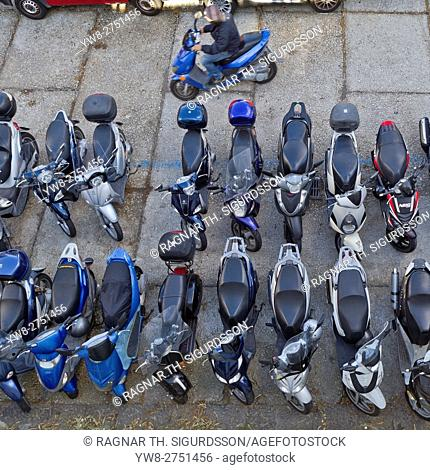 Top view of motor scooters, Capri, Italy