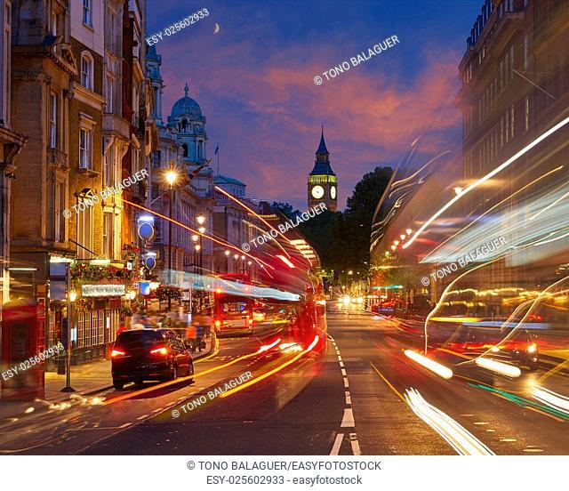 London Big Ben from Trafalgar Square traffic lights at sunset