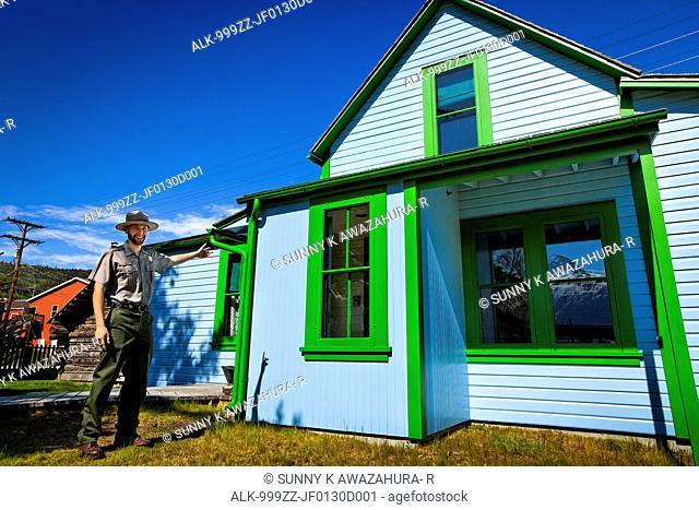 National Park Ranger guide at the Historic Moore Homestead, Klondike Gold Rush National Historical Park, Skagway, Southeast Alaska, Summer