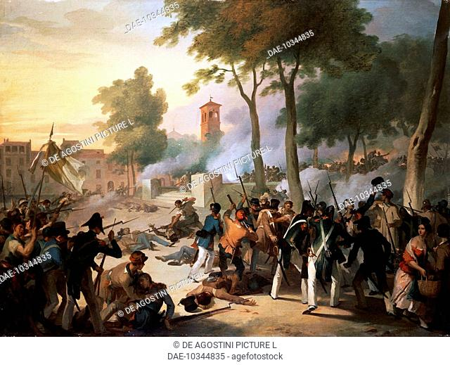 The battle of 8 August 1848 at Montagnola, Bologna, which led to the temporary expulsion of the Austrians from the city, by Napoleon Angiolini (1797-1871), 1850