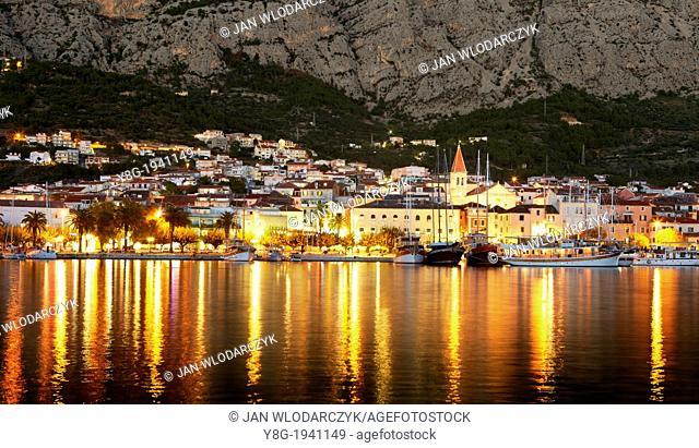 Croatia - Makarska Riviera, Makarska Village by night, Dalmatia, Croatia