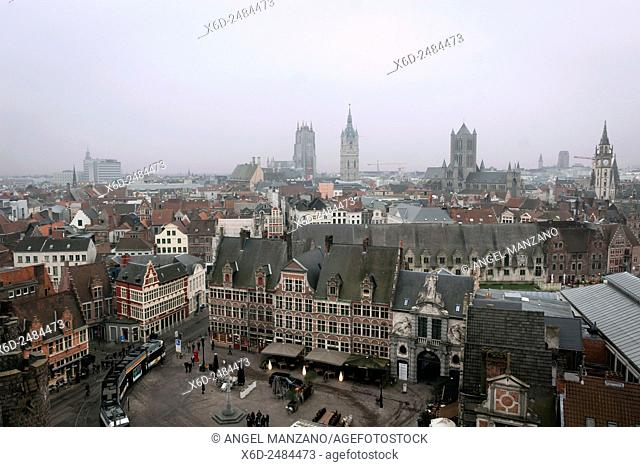 "City view from Het Gravensteen, """"Castle of the Counts"""", seat of the counts of Flanders overlooks the city centre of Gent, Belgium"