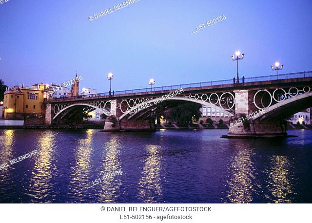 Triana bridge. Guadalquivir river. Sevilla. Andalucia. Spain