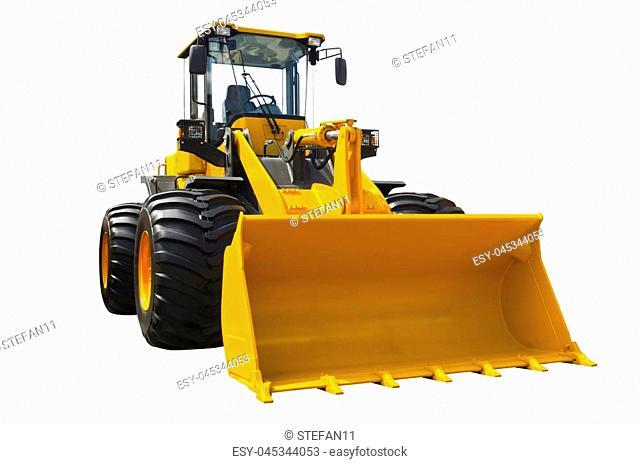 Big bulldozer isolated on a white background